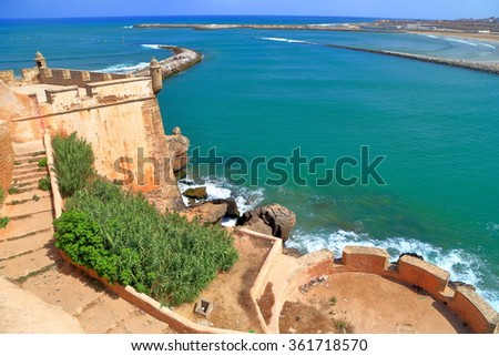 River Bou Regreg and Atlantic ocean seen from the walls of the Kasbah of the Udayas in Rabat, Morocco - stock photo