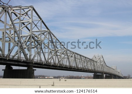 River Bridge over a Highway - stock photo