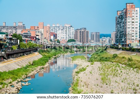River bridge with city in Taipei, Taiwan