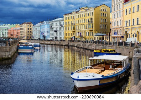River channel with boats in Saint Petersburg. Summer - stock photo