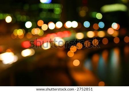 river city lights on freeway - stock photo