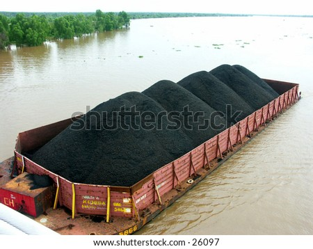 River Coal transportation, using barge/scow.