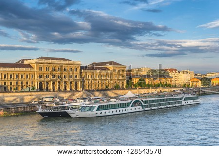 River Cruise boats on the Danube River in Budapest