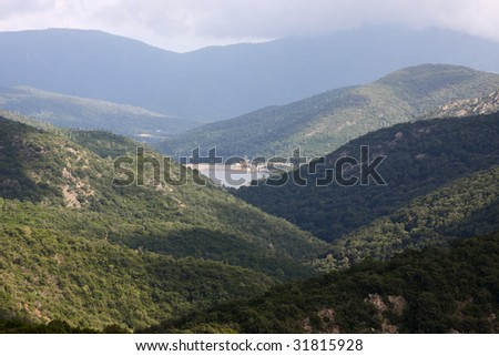 "River-dam in the ""Massif des Maures"", South of France"