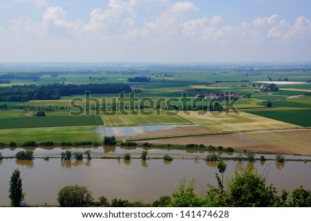 River Danube / Donau in Bavaria after the recort flood in june 2013 - stock photo