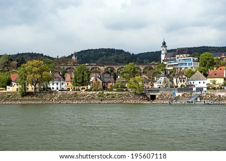 River Danube village of Emmersdorf at the beginning of the Wachau Valley adjacent to Melk, Austria - stock photo
