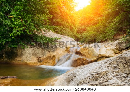 River deep in mountain forest. Natural composition - stock photo