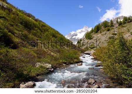 River Dora Veny - Val Veny - Aosta Valley - Italy - stock photo