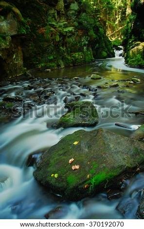 River Doubrava, Vysocina Region, Czech Republic, water - stock photo