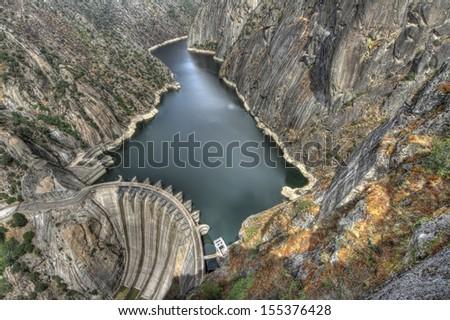 River Duero and Aldeadavila damm. Granite mountains and ravine. - stock photo