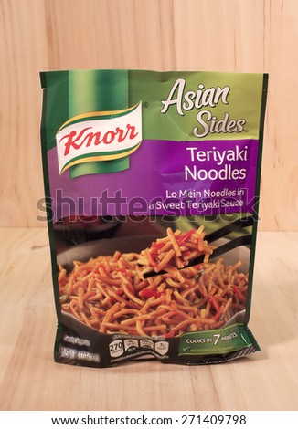 RIVER FALLS,WISCONSIN-APRIL 21,2015: A bag of Knorr brand Teriyaki Noodle mix. Knorr is a German brand headquartered in Heilbronn,Germany. - stock photo