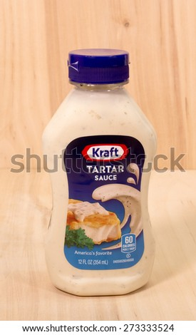 RIVER FALLS,WISCONSIN-APRIL 27,2015: A bottle of Kraft brand Tartar Sauce. Kraft Food Group Incorporated is based in Northfield,Illinois. - stock photo