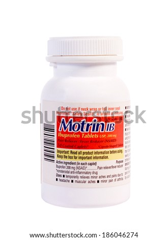 RIVER FALLS,WISCONSIN-APRIL 7,2014: A bottle of Motrin IB pain reliever. Motrin is distributed by Consumer Health Care of Fort Washington,Pennsylvania. - stock photo