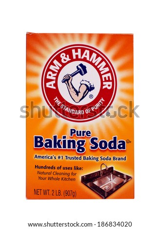 RIVER FALLS,WISCONSIN-APRIL 12, 2014: A box of Arm and Hammer Baking Soda. Arm and Hammer is a division of Church and Dwight of Princton,New Jersey. - stock photo