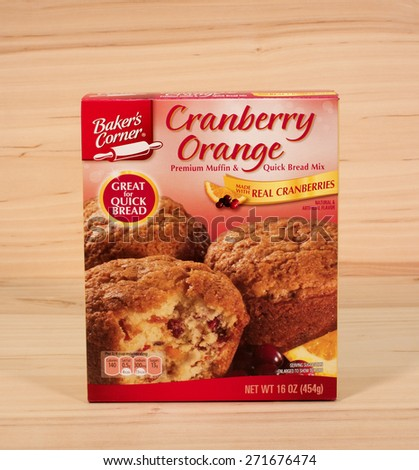 RIVER FALLS,WISCONSIN-APRIL 21,2015: A box of Baker's Corner Cranberry Orange muffin mix. Baker's Corner products are sold at Aldi stores. - stock photo