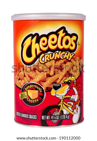 RIVER FALLS,WISCONSIN-APRIL 30, 2014: A can of Cheetos Crunchy cheese snacks. Cheetos are made by Frito-Lay Inc. of Plano,Texas. - stock photo