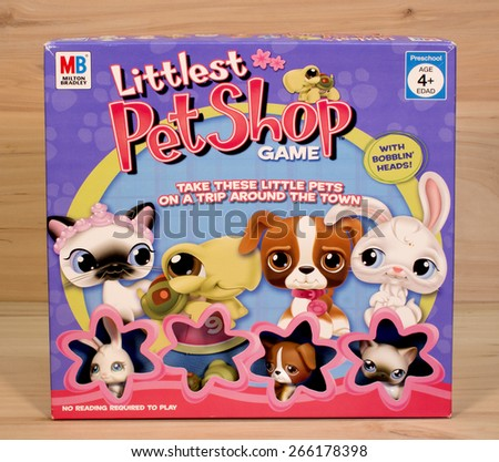 RIVER FALLS,WISCONSIN-APRIL3,2015: A Littlest Pet Shop game box. This game was distributed by Milton Bradley. - stock photo