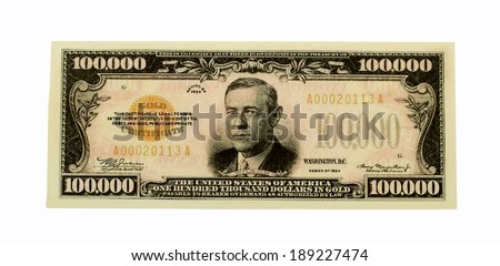 RIVER FALLS,WISCONSIN-APRIL 25, 2014: A One Hundred Thousand Dollar Gold Certificate. These notes were only used for transactions between Federal Reserve Banks. - stock photo