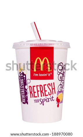 RIVER FALLS,WISCONSIN-APRIL 24, 2014: A single McDonald's styrofoam cup. McDonald's is the world's largest chain of fast food restaurants. - stock photo