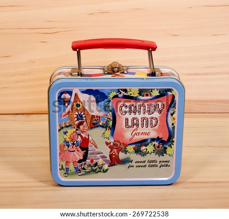RIVER FALLS,WISCONSIN-APRIL 14,2015: A vintage metal Candy Land lunch box. Candy Land products have been produced since Nineteen Forty Nine. - stock photo