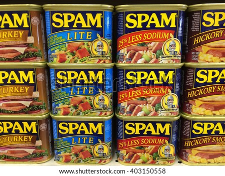 RIVER FALLS,WISCONSIN-APRIL 08,2016: Several varieties of Spam canned meat. Spam was introduced by Hormel in Nineteen Thirty Seven. - stock photo