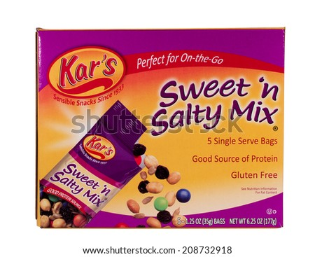 RIVER FALLS,WISCONSIN-AUGUST 02,2014: A box of Kar's Sweet and Salty snack mix. Kar's Nuts is headquartered in Madison Heights,Michigan. - stock photo