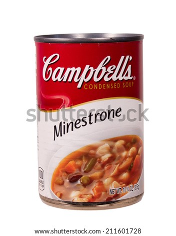 RIVER FALLS,WISCONSIN-AUGUST 16,2014: A can of Campbell's Minestrone condensed soup. Campbell's Soup Company is headquartered in Camden,New Jersey. - stock photo