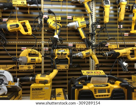 RIVER FALLS,WISCONSIN-AUGUST 24,2015: A display of numerous DeWALT power tools. DeWALT is headquartered in Baltimore,Maryland.