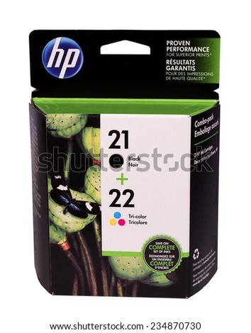 RIVER FALLS,WISCONSIN-DECEMBER 02,2014: A box of HP ink cartridges. Hewlett-Packard Company is located in Palo Alto,California. - stock photo