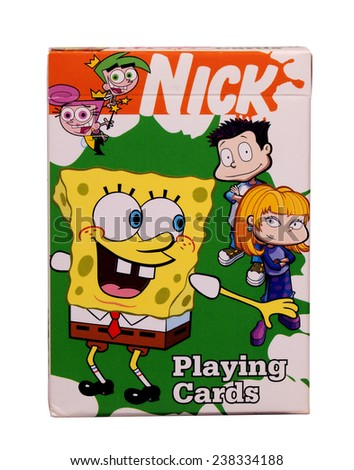 RIVER FALLS,WISCONSIN-DECEMBER 17,2014: A box of Nick playing cards featuring the SpongeBob SquarePants character. SpongeBob SquarePants was created by marine biologist Stephen Hillenburg. - stock photo