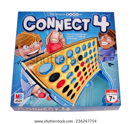 RIVER FALLS,WISCONSIN-DECEMBER 06,2014: The game of Connect 4 by Milton Bradley. Connect 4 was first sold in Nineteen Seventy Four.