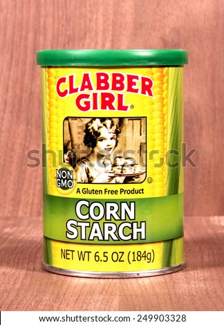 RIVER FALLS,WISCONSIN-FEBRUARY 03,2015: A can of Clabber Girl gluten free corn starch. Corn starch is used for thickening sauces and soups. - stock photo