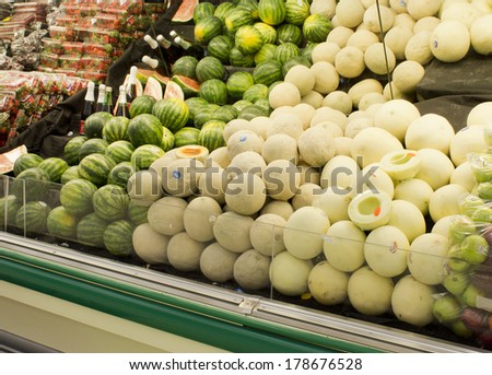 RIVER FALLS,WISCONSIN-FEBRUARY 25, 2014: Fresh melons displayed at a local market in River Falls, Wisconsin
