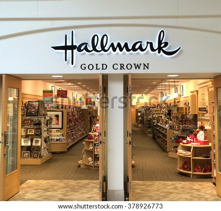 RIVER FALLS,WISCONSIN-FEBRUARY 09,2016: The Hallmark sign and retail store. Hallmark is headquartered in Kansas City,Missouri.