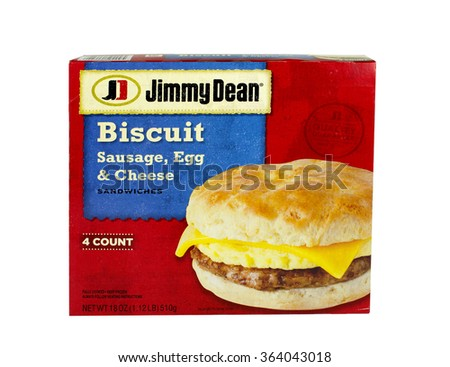 RIVER FALLS,WISCONSIN-JANUARY 16,2016: A box of Jimmy Dean brand sausage egg and cheese breakfast biscuits. - stock photo