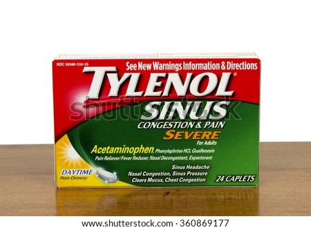 RIVER FALLS,WISCONSIN-JANUARY 06,2016: A box of Tylenol brand sinus congestion medication for adults.