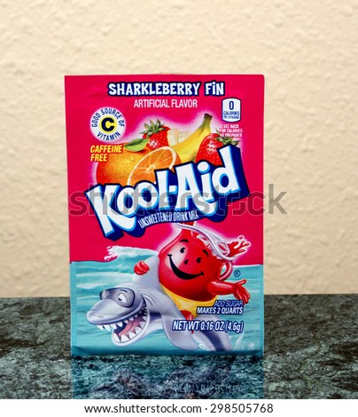 RIVER FALLS,WISCONSIN-JULY 21,2015: A package of Kool-Aid brand Sharkleberry Fin drink mix. - stock photo