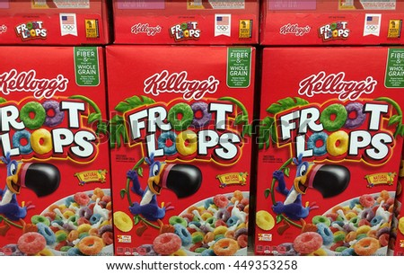 RIVER FALLS,WISCONSIN-JULY 08,2016: Several boxes of Kelloggs Froot Loops breakfast cereal. - stock photo
