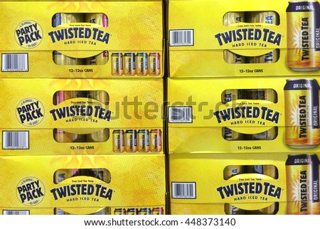 RIVER FALLS,WISCONSIN-JULY 06,2016: Several cartons of Twisted Tea hard ice tea. - stock photo