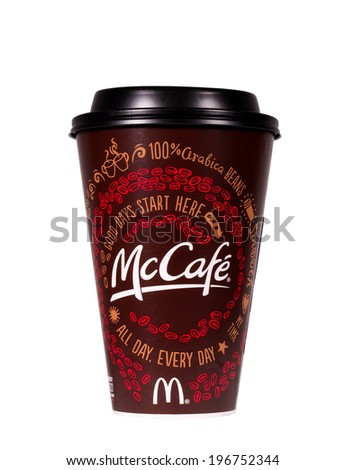 RIVER FALLS,WISCONSIN-JUNE 4, 2014: A McDonalds McCafe coffee cup. McDonalds is the worlds largest chain of fast food restaurants. - stock photo