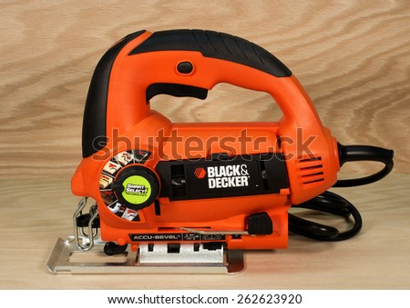 RIVER FALLS,WISCONSIN-MARCH 21,2015: A Black and Decker jig saw with Accu-Bevel. Black and Decker is headquartered in Towson,Maryland. - stock photo