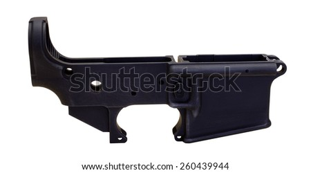 RIVER FALLS,WISCONSIN-MARCH 10,2015: A blank lower receiver used to build a complete AR-15 rifle. - stock photo