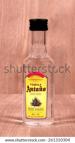 RIVER FALLS,WISCONSIN-MARCH 16,2015: A bottle of Antano Tequila. This Tequila is imported from Mexico. - stock photo