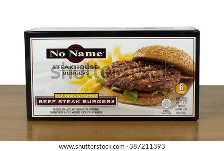 RIVER FALLS,WISCONSIN-MARCH 05,2016: A box of No Name brand beef steak burgers. No Name products are produced by Loblaw Companies Limited of Canada.