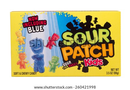 RIVER FALLS,WISCONSIN-MARCH 13,2015: A box of Sour Patch soft and chewy candy. This candy starts out sour and then turns sweet. - stock photo