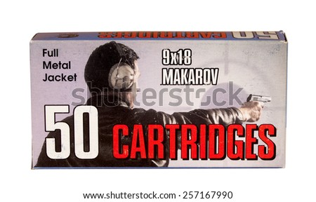 RIVER FALLS,WISCONSIN-MARCH 02,2015: A box of vintage nine by eighteen Makarov pistol cartridges. - stock photo