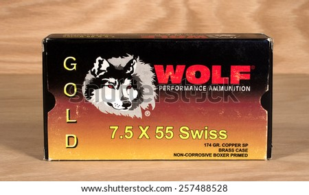 RIVER FALLS,WISCONSIN-MARCH 02,2015: A box of vintage Wolf Swiss rifle ammunition. This ammunition is manufactured in Tula,Russia. - stock photo