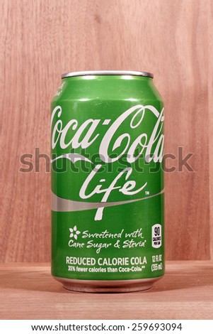 RIVER FALLS,WISCONSIN-MARCH 10,2015: A can of Coca-Cola Lite. This soda has thirty five percent fewer calories than regular Coca-Cola. - stock photo