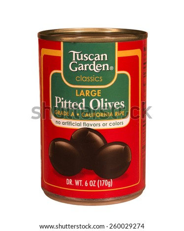 RIVER FALLS,WISCONSIN-MARCH 12,2015: A can of Tuscan Garden pitted olives. Tuscan Garden is a brand found at Aldi grocery stores. - stock photo