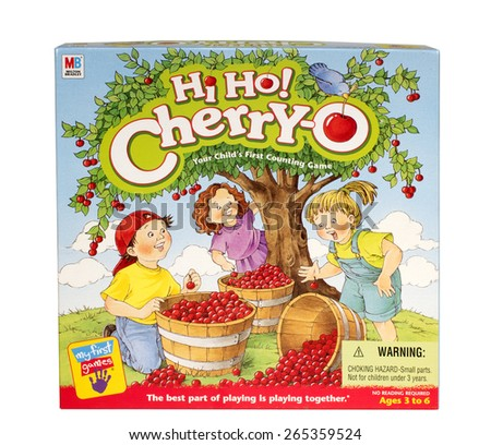 RIVER FALLS,WISCONSIN-MARCH 30,2015: A Hi Ho Cherry-o game box from Milton Bradley. - stock photo